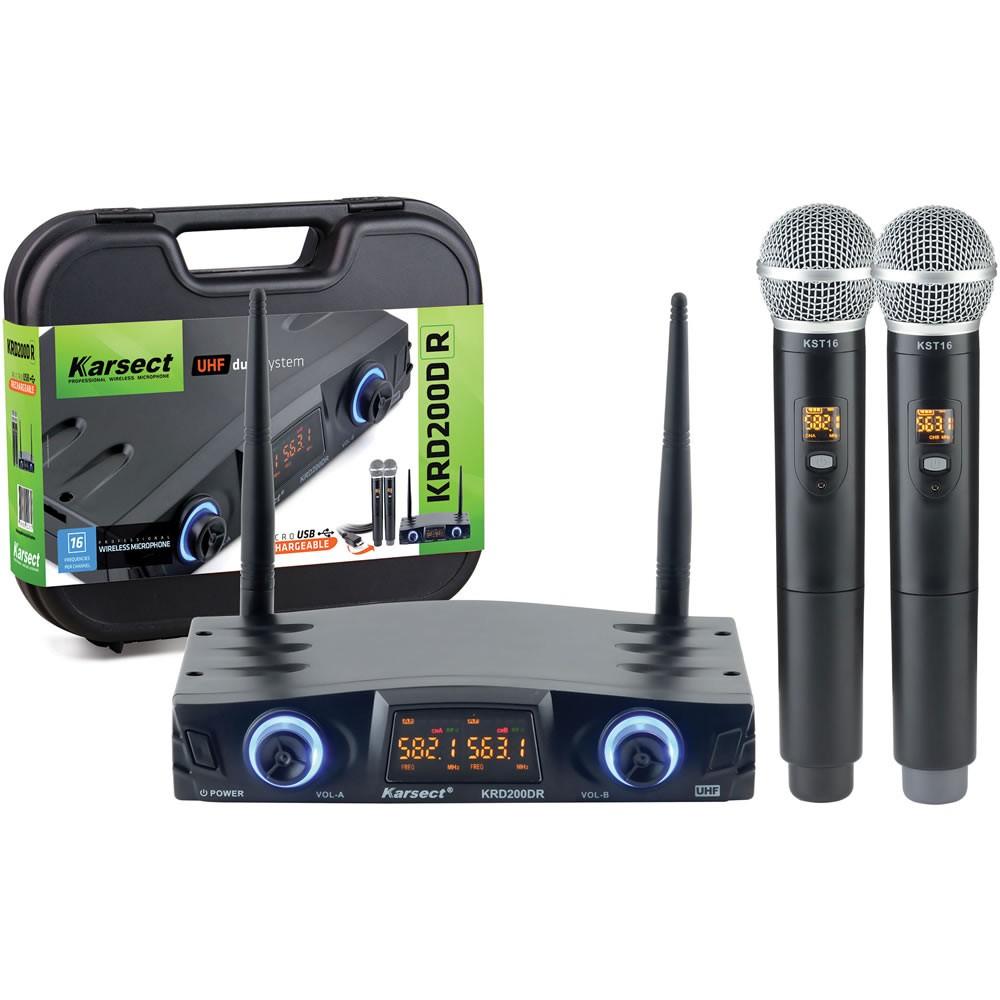 Microfone KARSECT Sem Fio Duplo de Mão UHF KRD200DR Recarregável