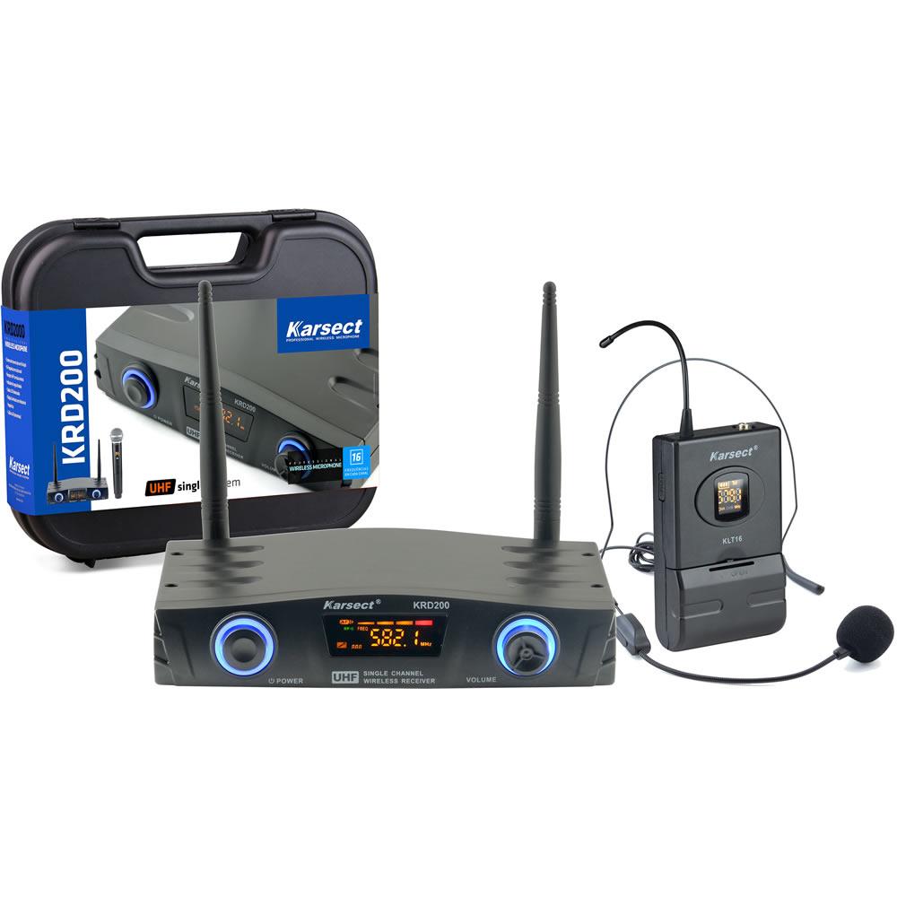 Microfone KARSECT Sem Fio Headset UHF KRD200SH