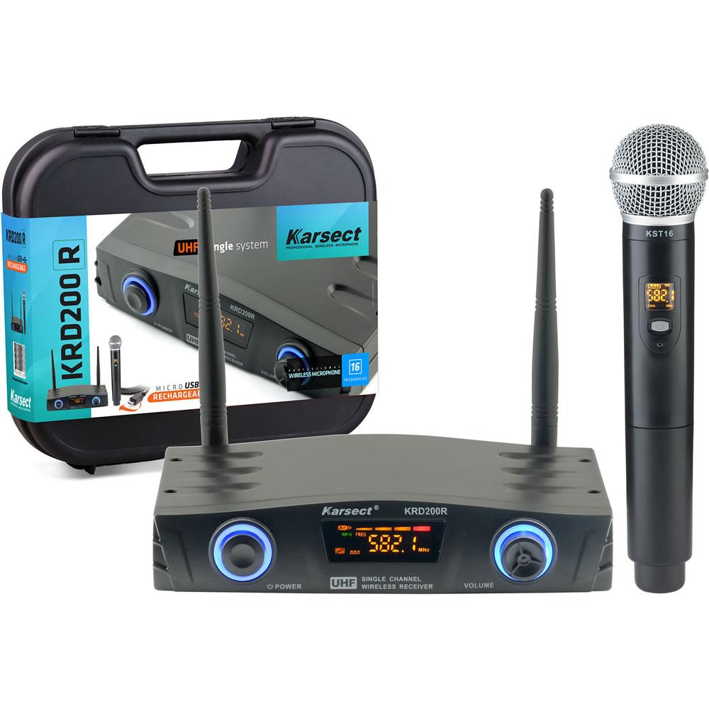 Microfone KARSECT Sem Fio Mão UHF KRD200R Recarregável