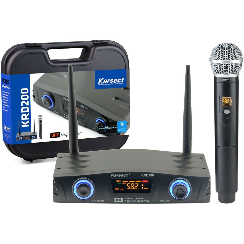 Microfone KARSECT Sem Fio Mão UHF KRD200SM