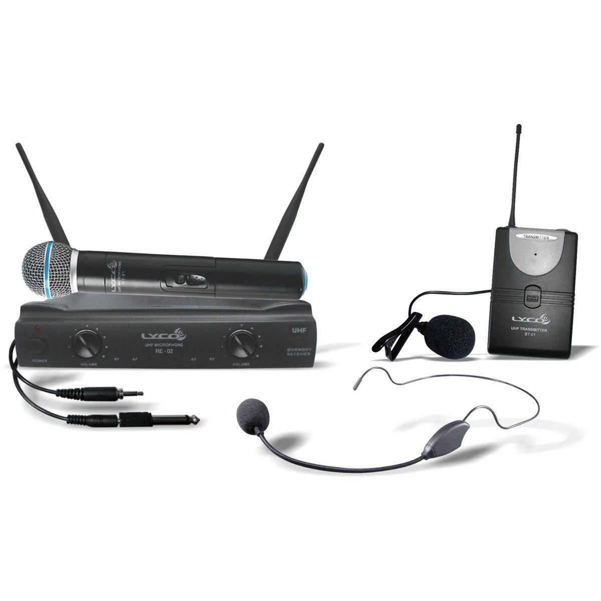 Microfone LYCO Sem Fio Duplo Mão Headset Lapela Instrumento UH02 MHLI