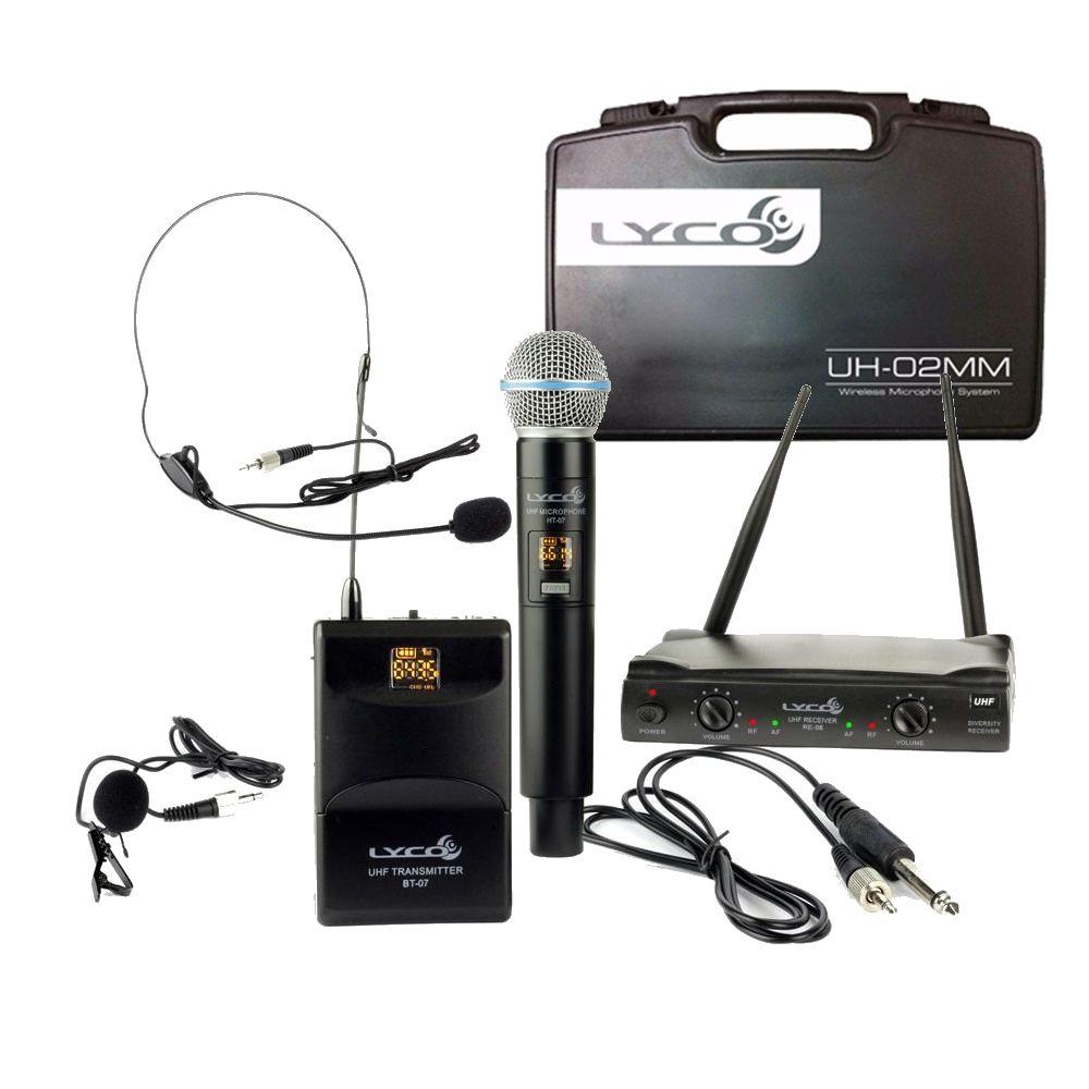 Microfone LYCO Sem Fio Duplo Mão Headset Lapela Instrumento UH08 MHLI