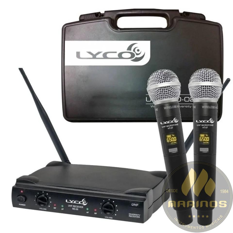 Microfone LYCO Sem Fio Duplo Mão UHF UH08 MM