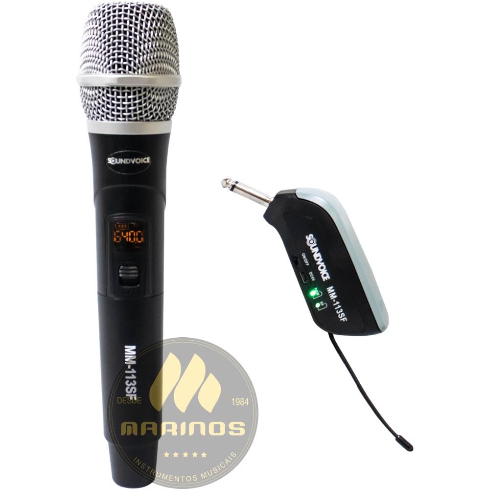 Microfone SOUNDVOICE Sem Fio Mão MM113