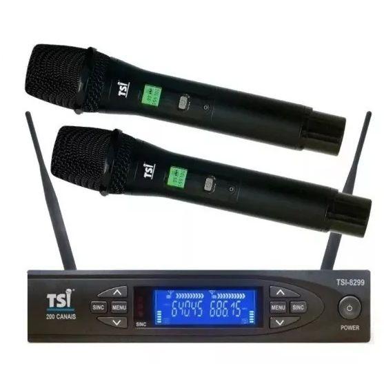 Microfone TSI Sem Fio Duplo de Mão UHF Digital TSI 8299