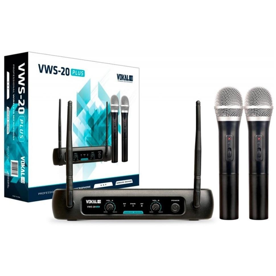 Microfone VOKAL Sem Fio Duplo de Mão VWS20 Plus
