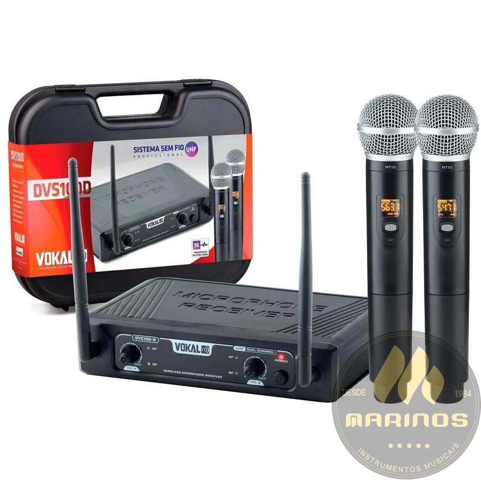 Microfone VOKAL Sem Fio Duplo Mão UHF DVS100DM