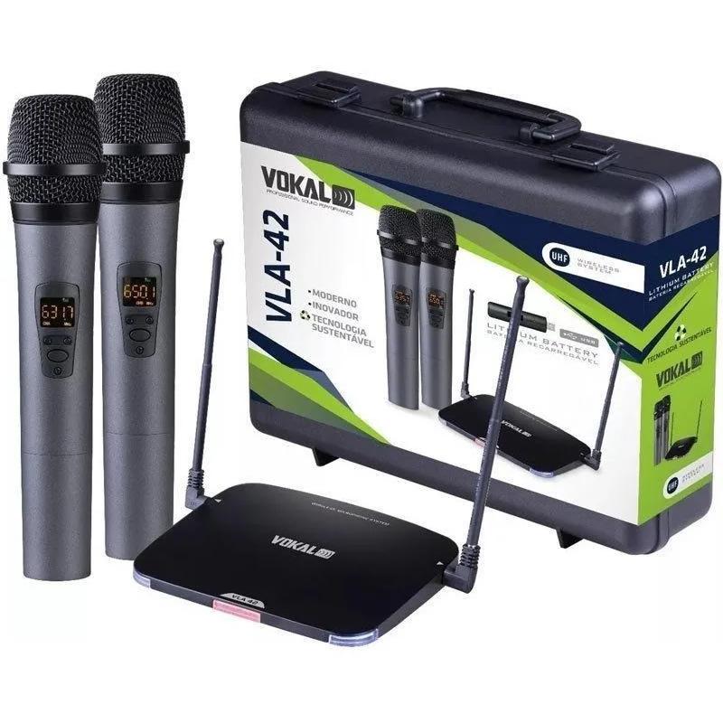 Microfone VOKAL Sem Fio Duplo Mão VLA42