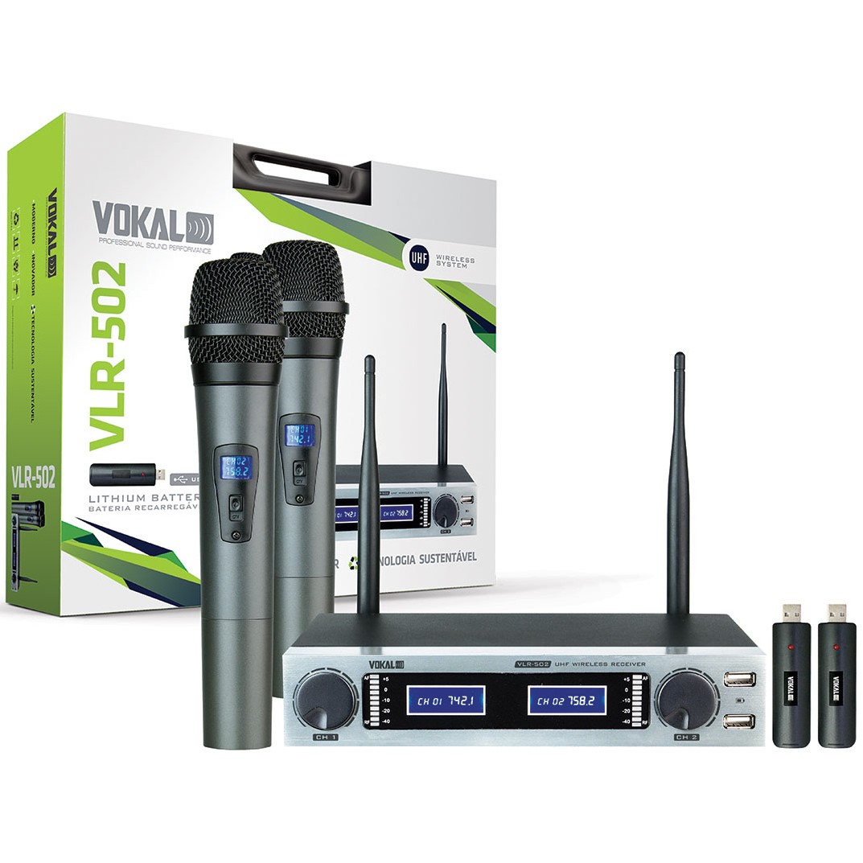 Microfone VOKAL Sem Fio Duplo Mão VLR502