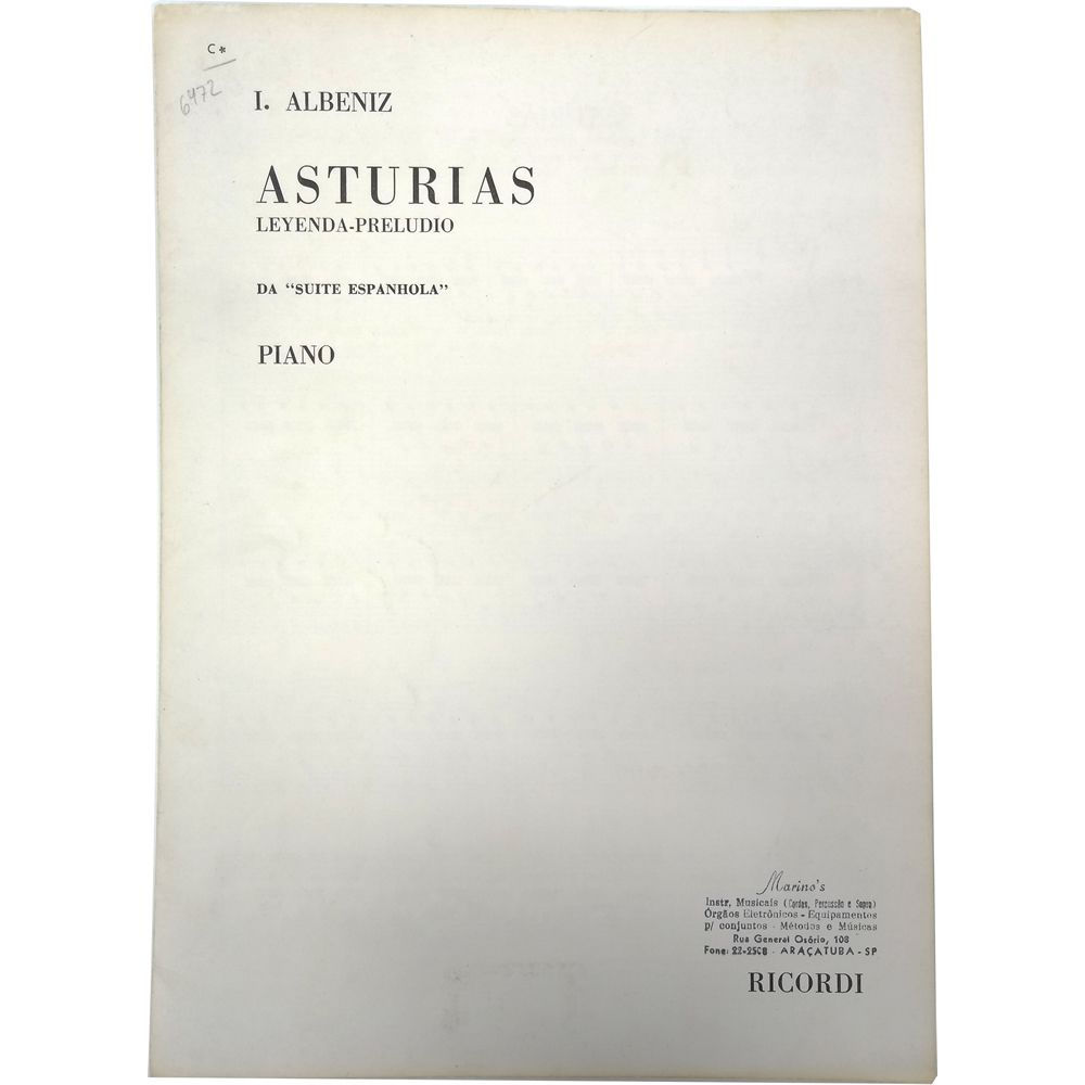 "Música Avulsa I. Albeniz ASTURIAS Leyenda-Preludio da ""Suite ESPANHOLA"" Piano"