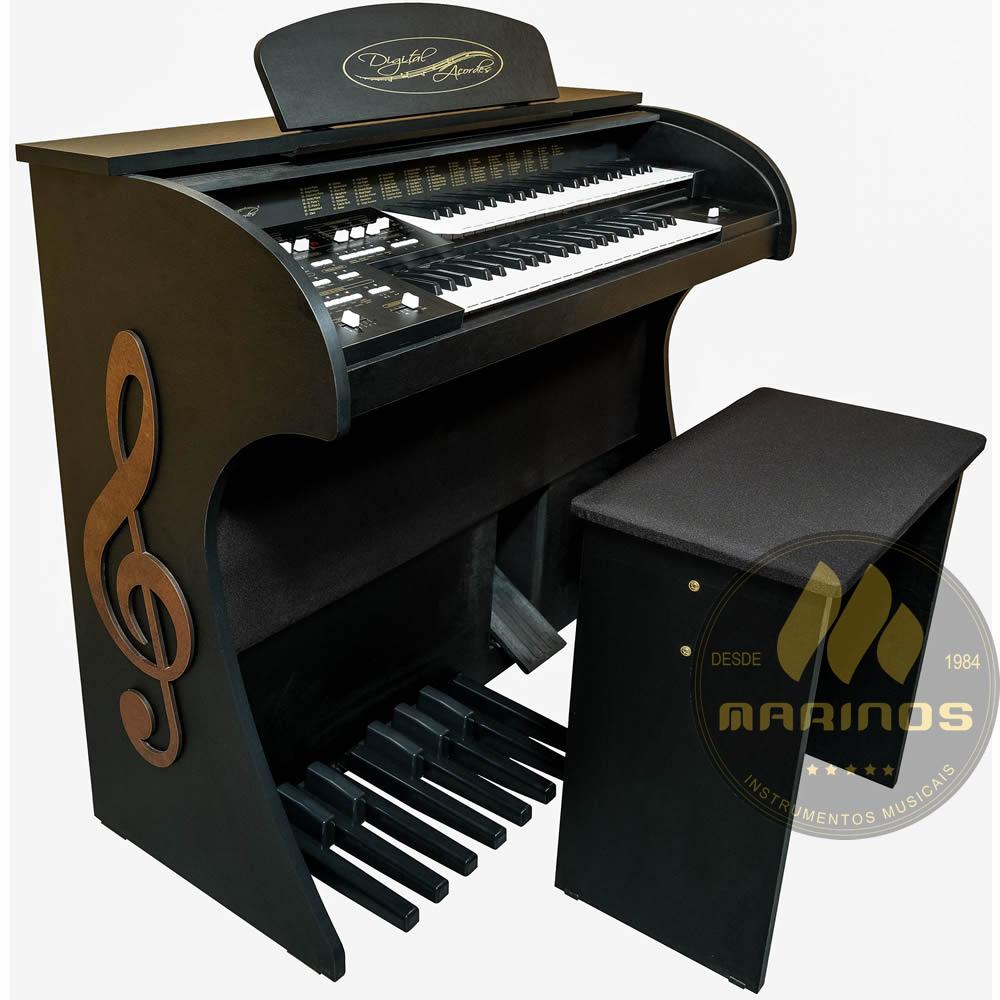 Órgão DIGITAL ACORDES 2D Tradicional FOSCO PRETO