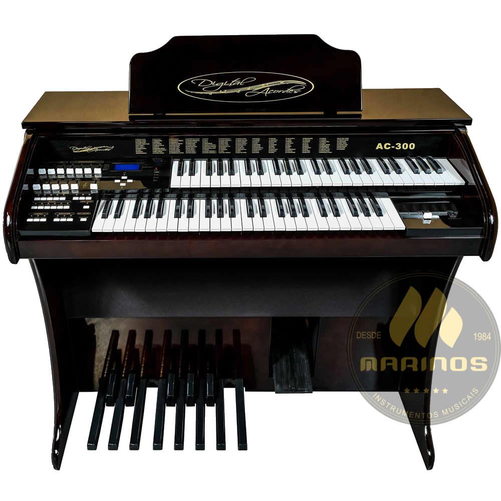 Órgão DIGITAL ACORDES AC300 Tradicional ALTO BRILHO IMBUIA
