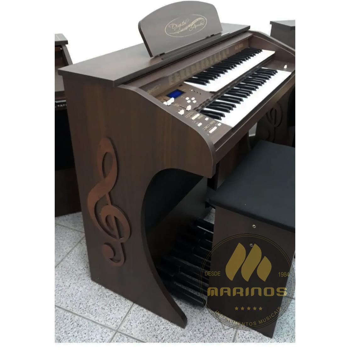 Órgão DIGITAL ACORDES AC300 Tradicional FOSCO MARROM