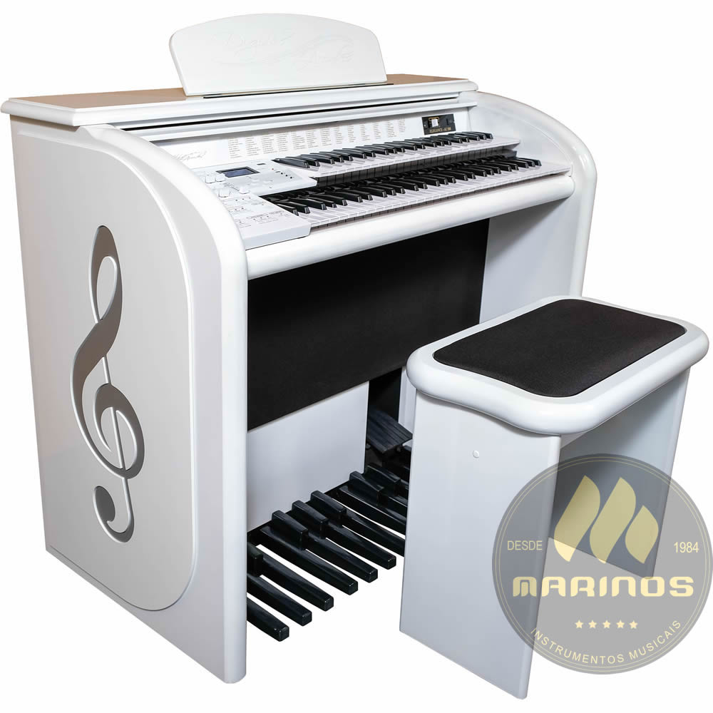 Órgão DIGITAL ACORDES AC500 Top Elegance ALTO BRILHO BRANCO