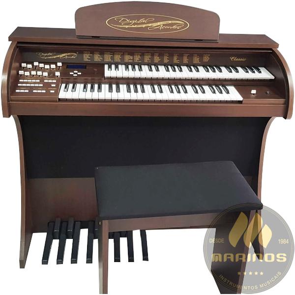 Órgão DIGITAL ACORDES CLASSIC Compacto FOSCO MARROM