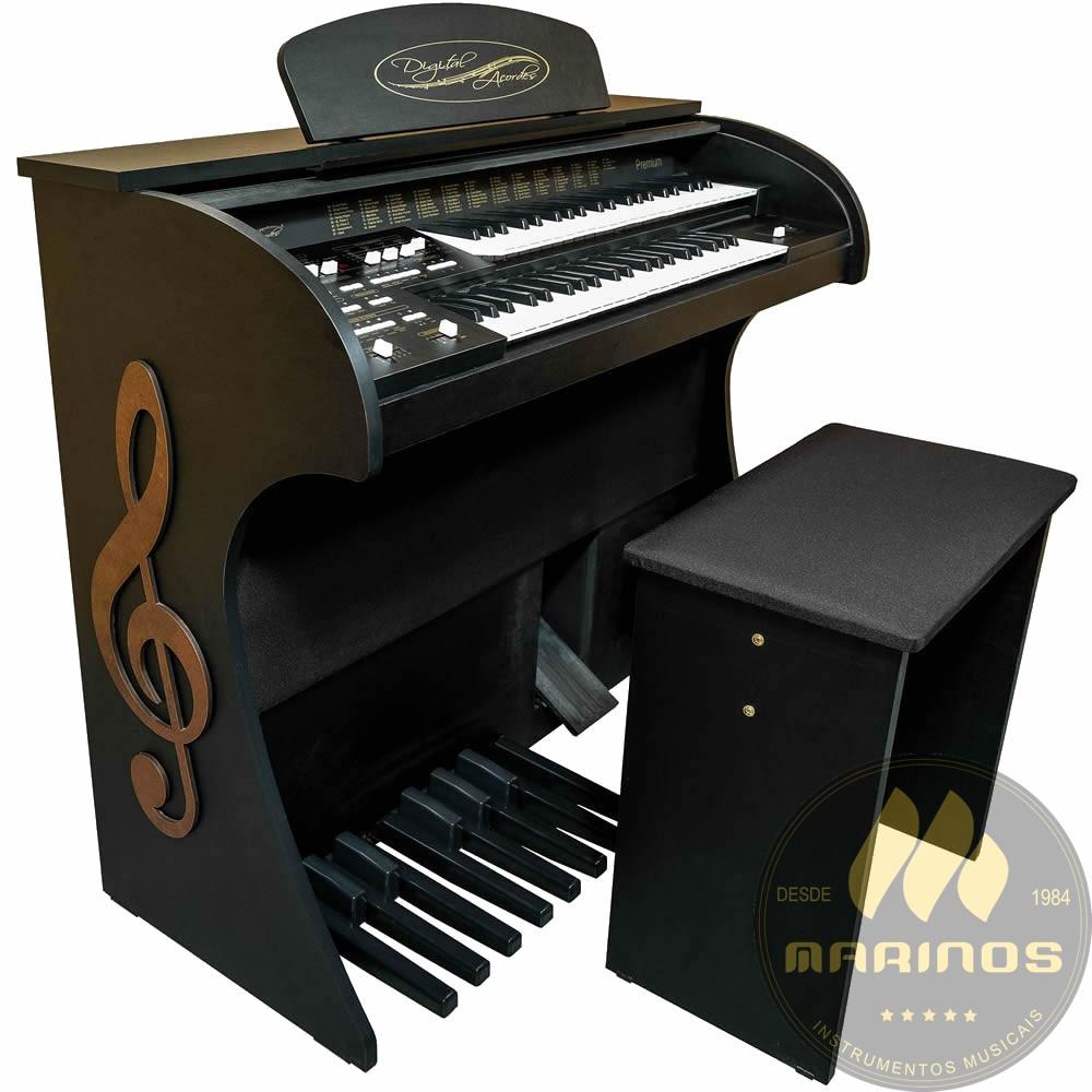 Órgão DIGITAL ACORDES PREMIUM Compacto FOSCO PRETO