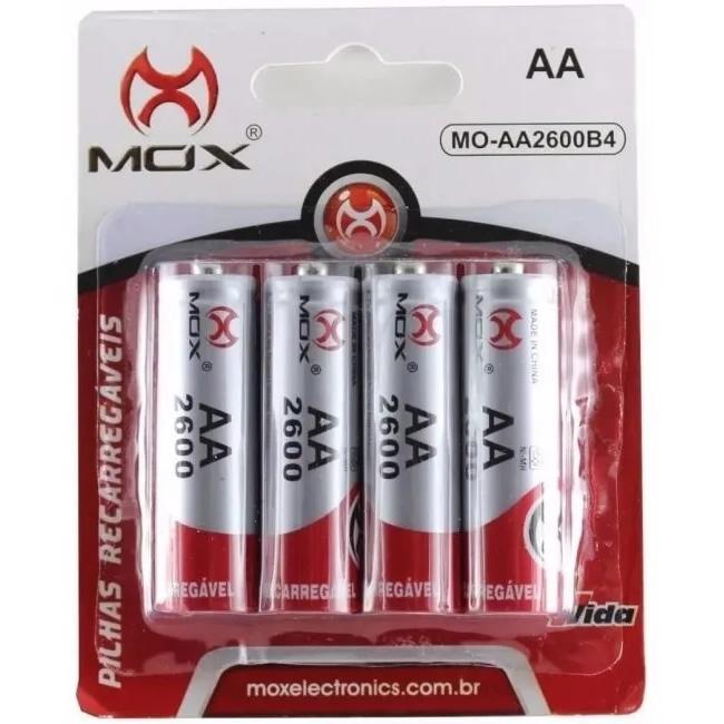 Pilha Recarregável MOX AA 2600mAH MO-AA2600B4 (Cartela c/ 4)
