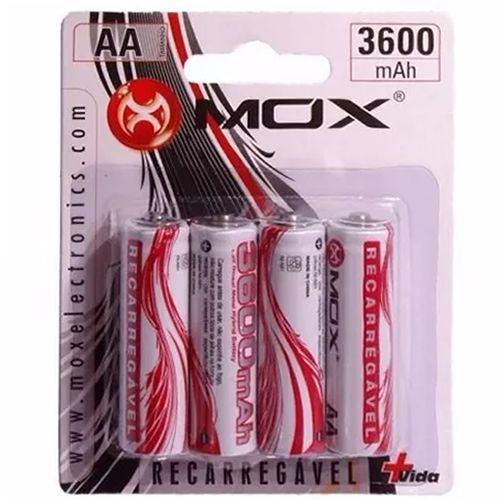Pilha Recarregável MOX AA 3600mAH MOB4AA36 (Cartela c/ 4)