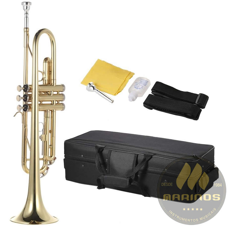 Trompete BECKER Sib Bb BTR504 Laqueado Dourado XLA