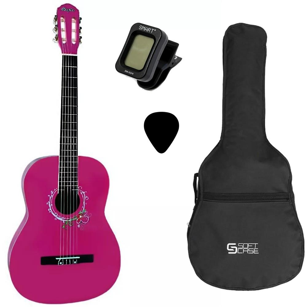 Violão MEMPHIS Tagima Náilon Acústico AC 39 PK Pink + Capa + Afinador + Palheta