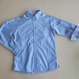 Camisa manga longa azul com listras brancas Um mais Um