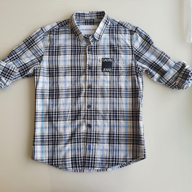 Camisa manga longa xadrez Calvin Kids