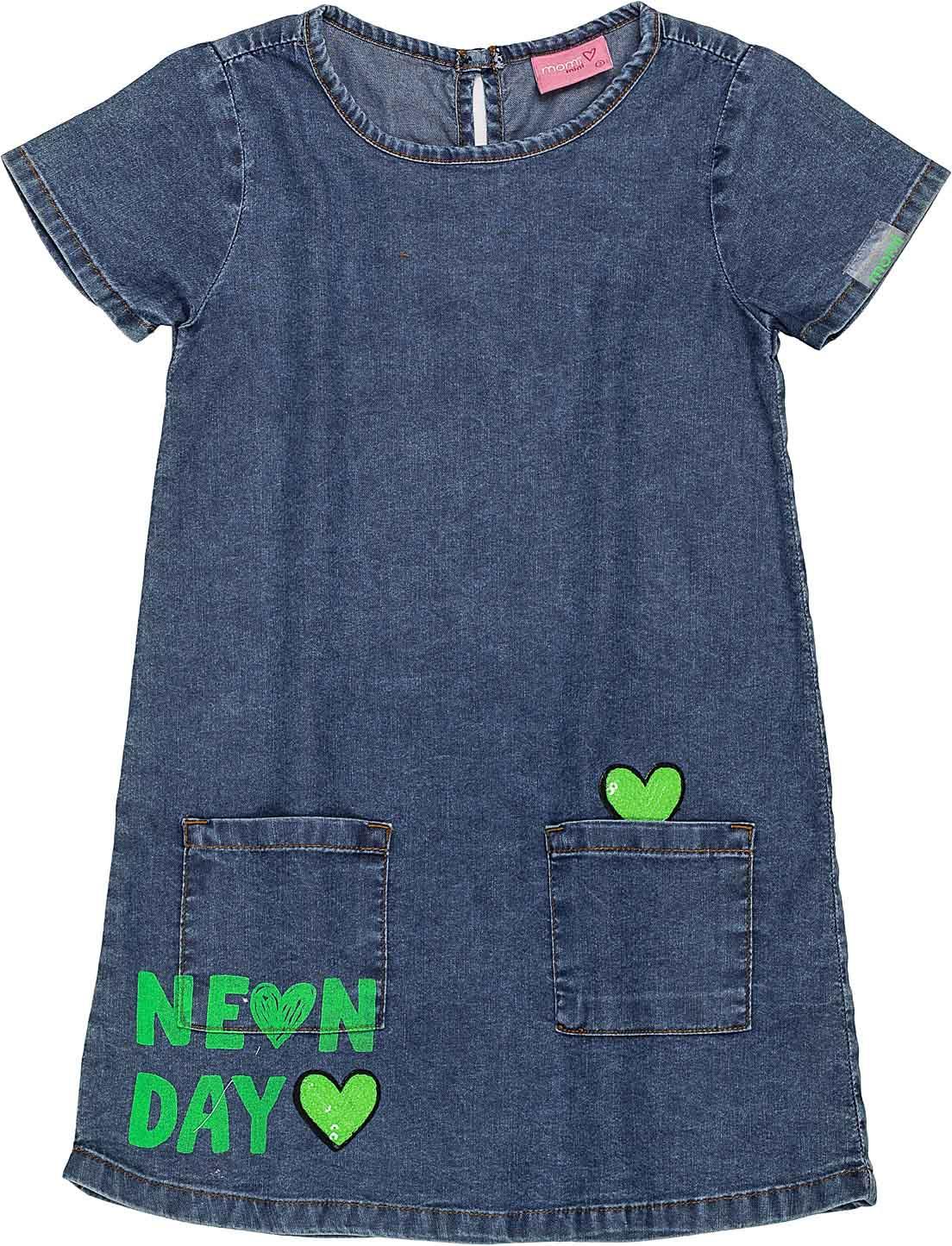 T Dress Jeans Coracoes Momi Mini