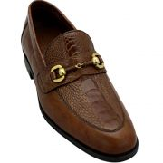 Sapato Masculino com Canela de Avestruz cor Havana 601BDITA