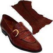 Sapato Masculino com Canela de Avestruz cor Vinho 059CANVIN