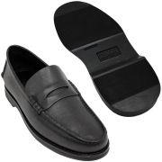Sapato Masculino Mocassim Preto Solado em Borracha 066MPJPRE