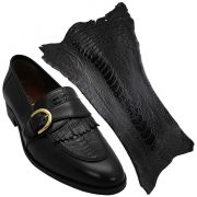 Sapato Masculino Preto com Canela de Avestruz 059CANPRE