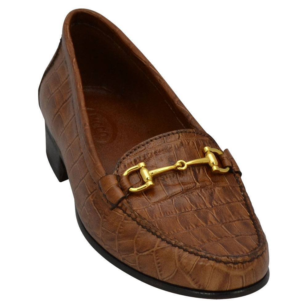 500BDCR Sapato Feminino Mocassim em couro estampado