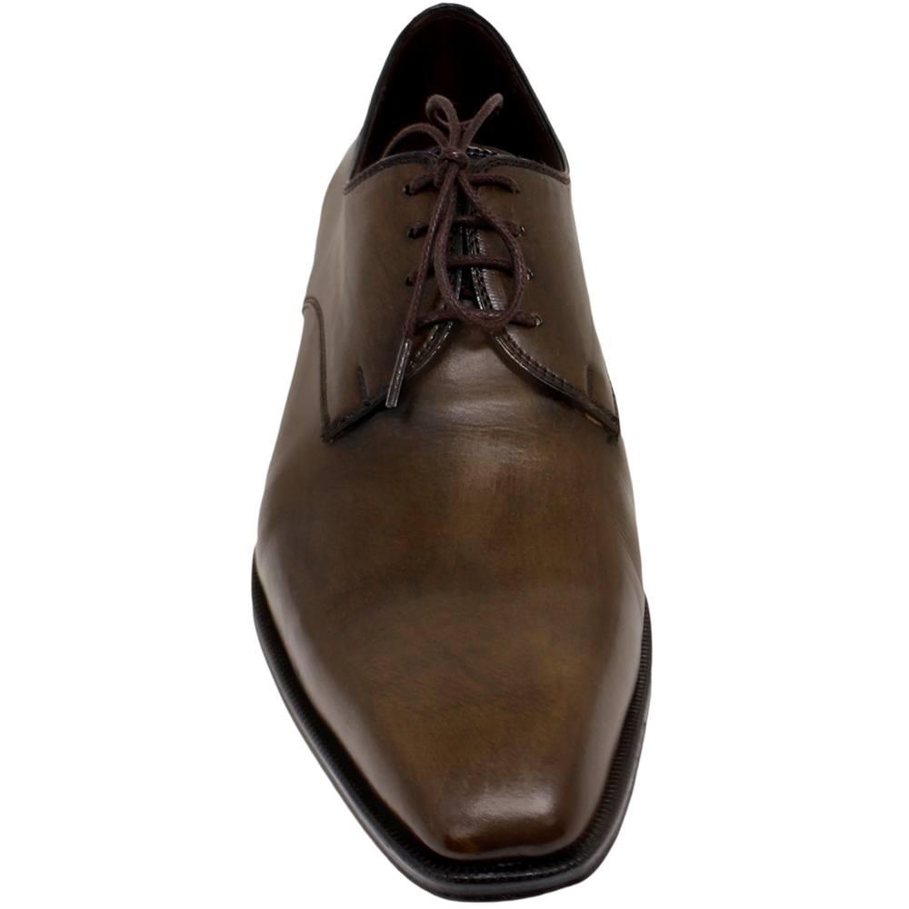 Sapato Masculino Derby Plain Toe Marrom Esverdeado 303LGREEN
