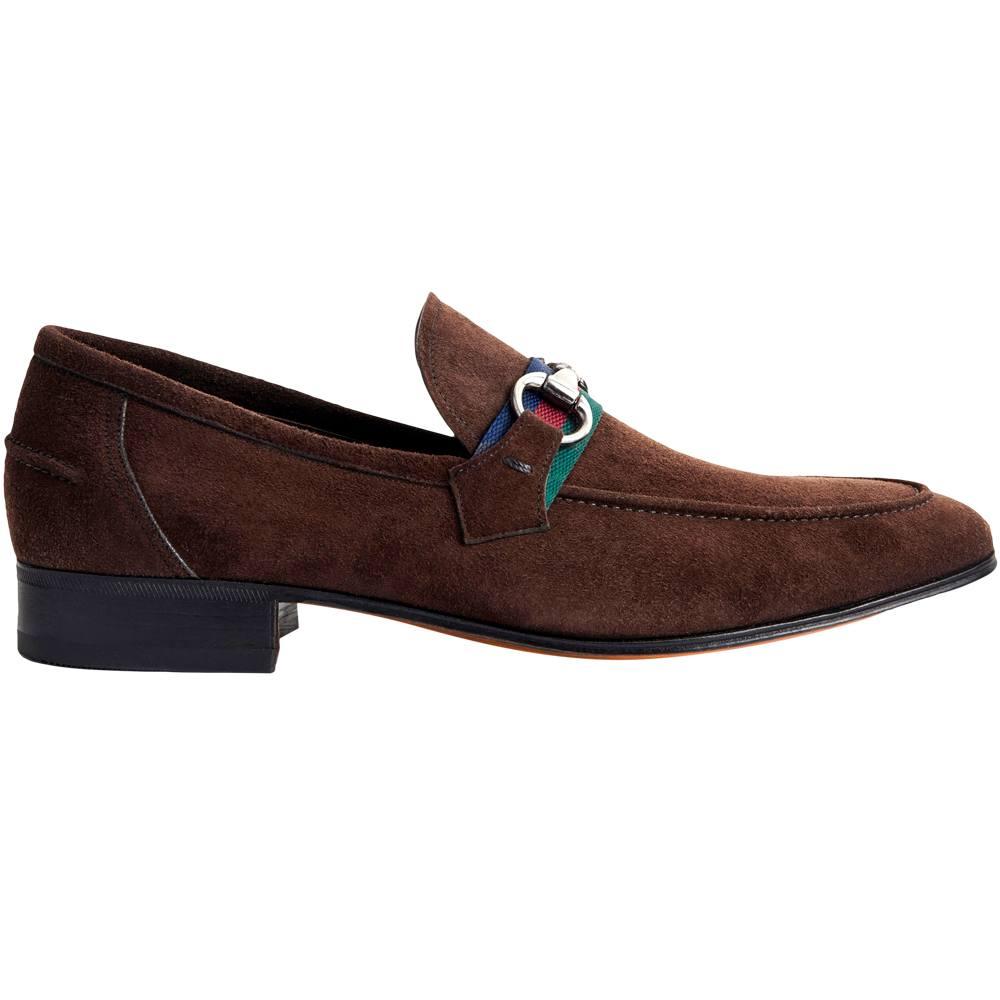 Sapato Masculino Casual Horsebit em Camurça Cor Café 078BDCAMCAF