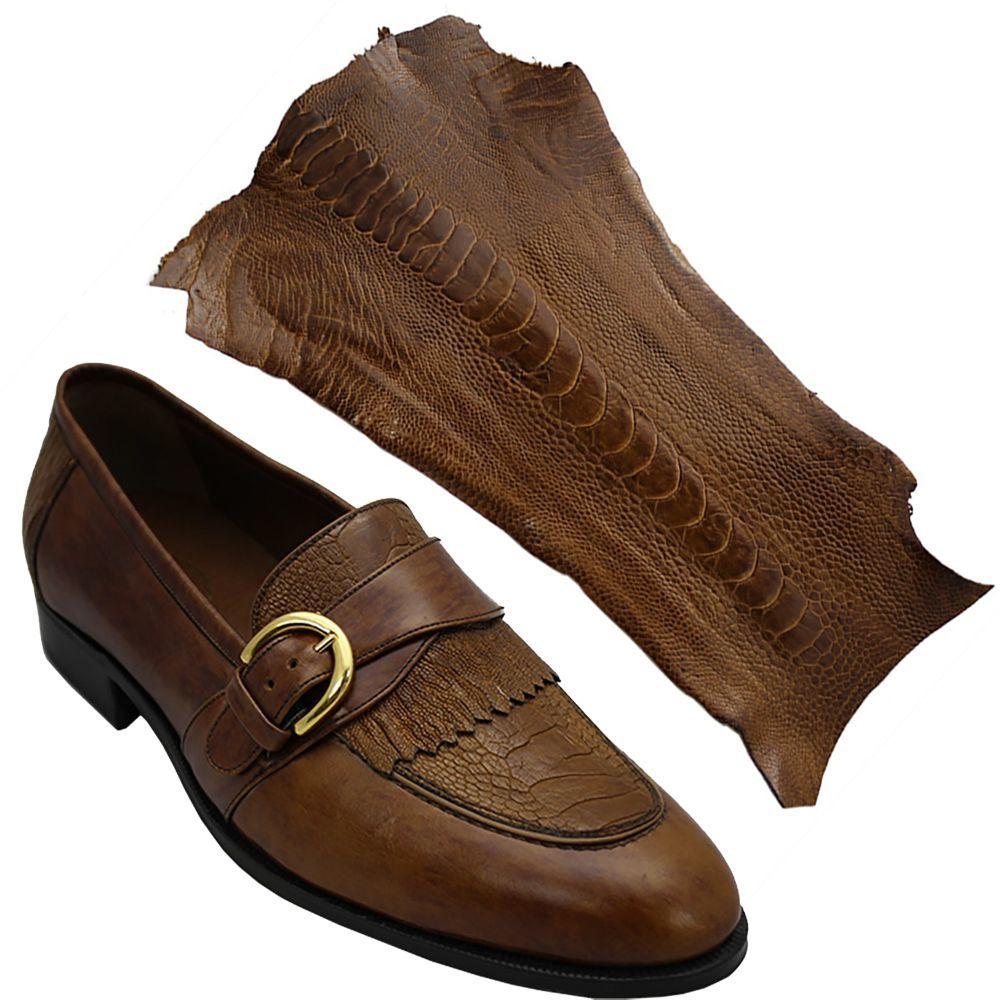 Sapato Masculino com Canela de Avestruz cor Havana 059CANITA
