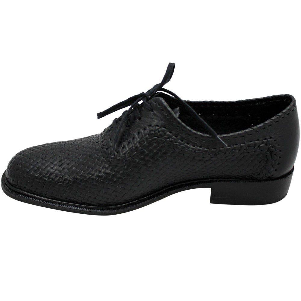 Sapato Masculino Oxford Confortável em Tresse cor Preto 02TRPRE