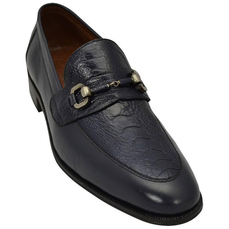 Sapato Masculino Cor Azul com Canela de Avestruz 601BDAZU