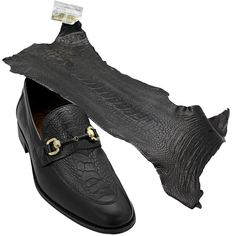 Sapato Masculino com Canela de Avestruz cor Preto 601BDPRE