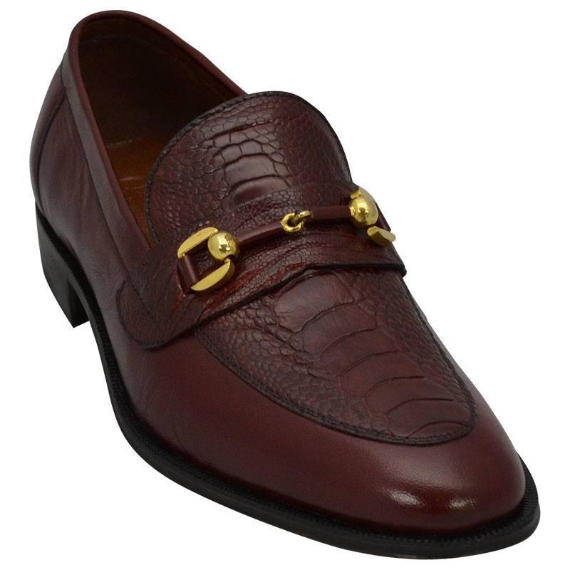 Sapato Masculino com Canela de Avestruz cor Vinho 601BDVIN