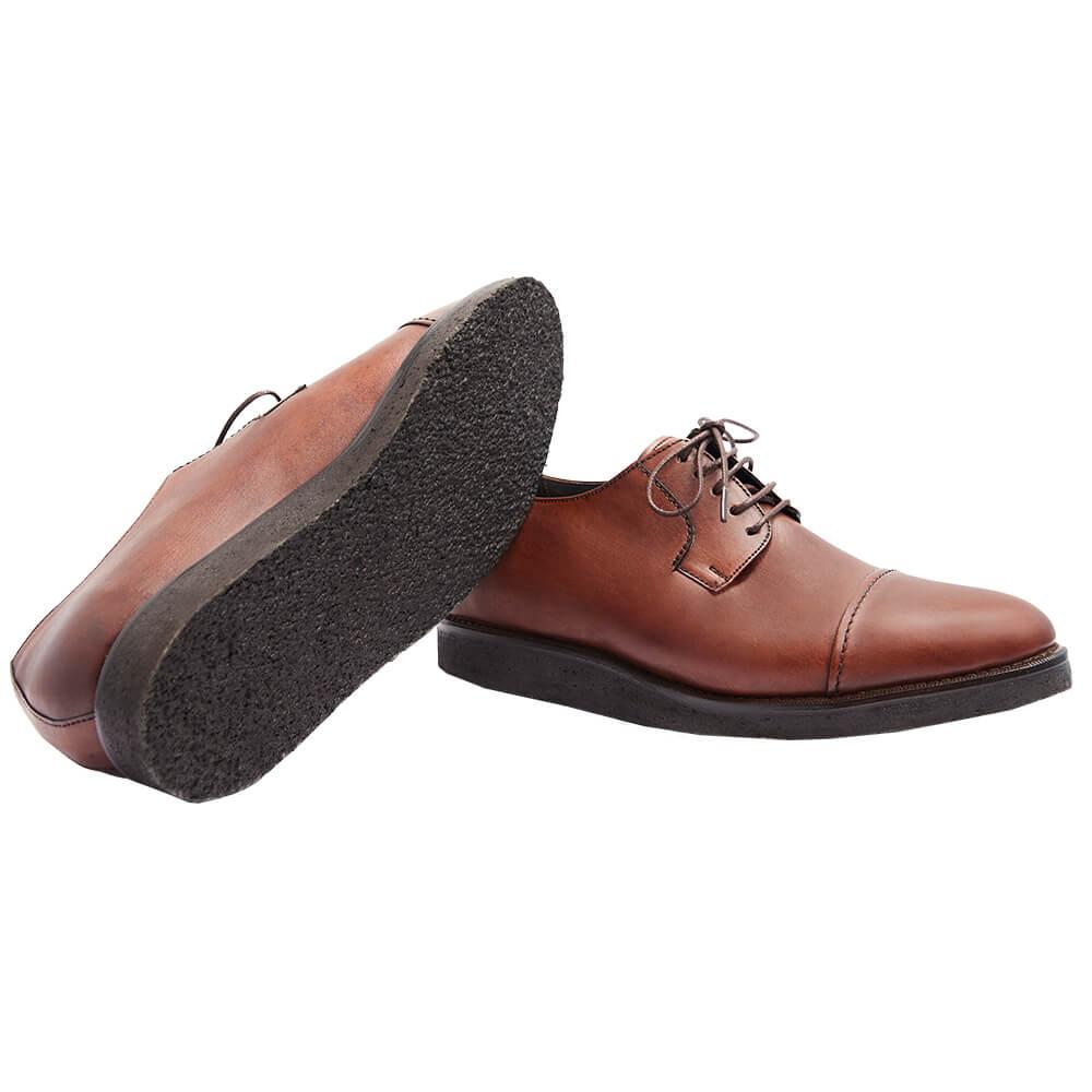 Sapato Masculino Derby Cap Toe Solado Crepe Natural 2600MOG Borelli
