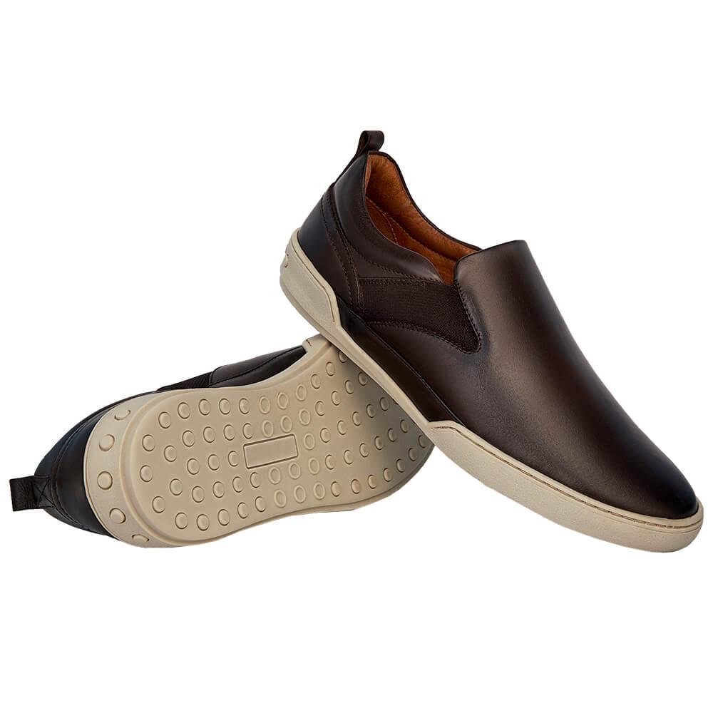 Sapato Masculino Esportivo Slip On Madrid Marrom Café 20304CAF