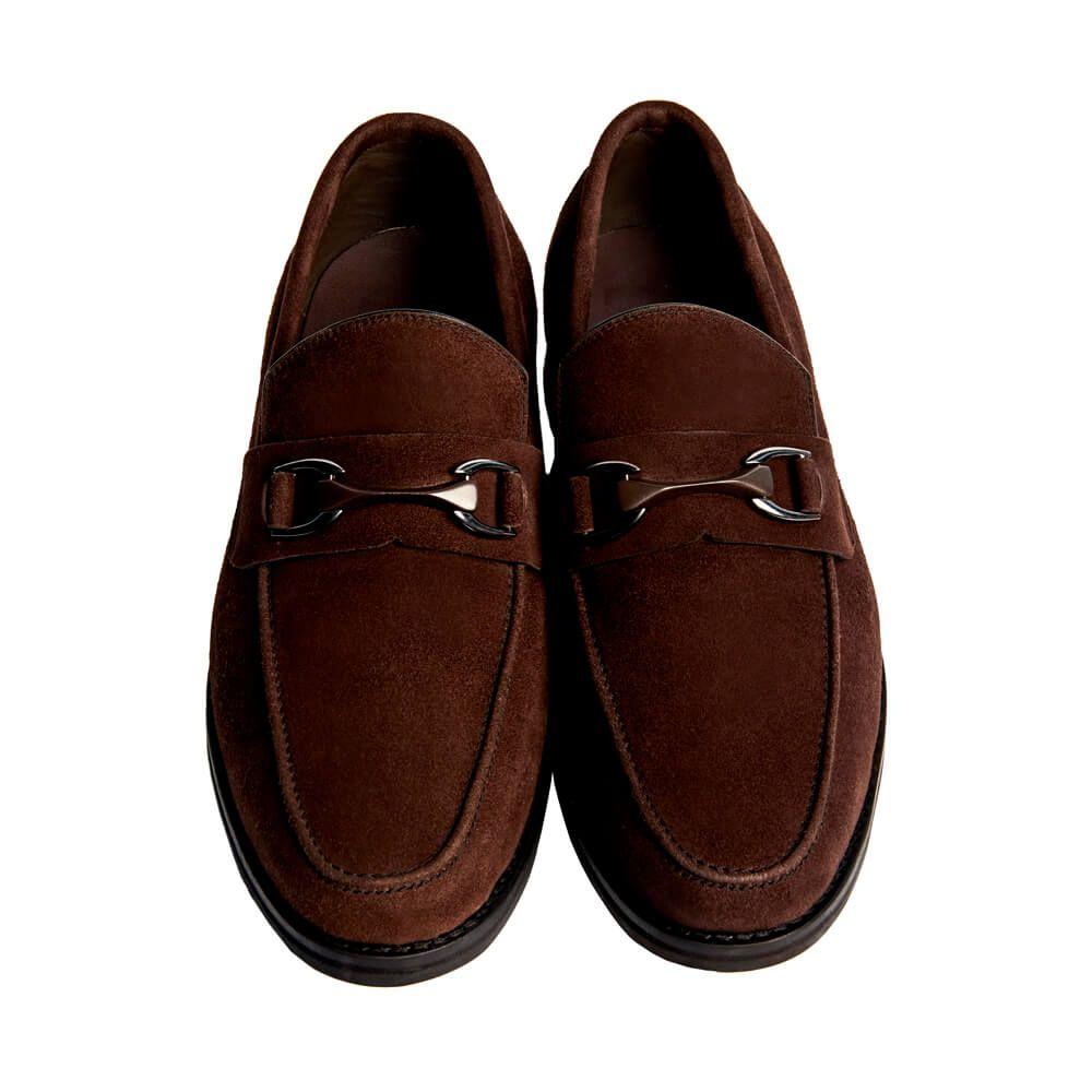 Sapato Masculino Loafer Horsebit em Camurça 111BDCAMCAF