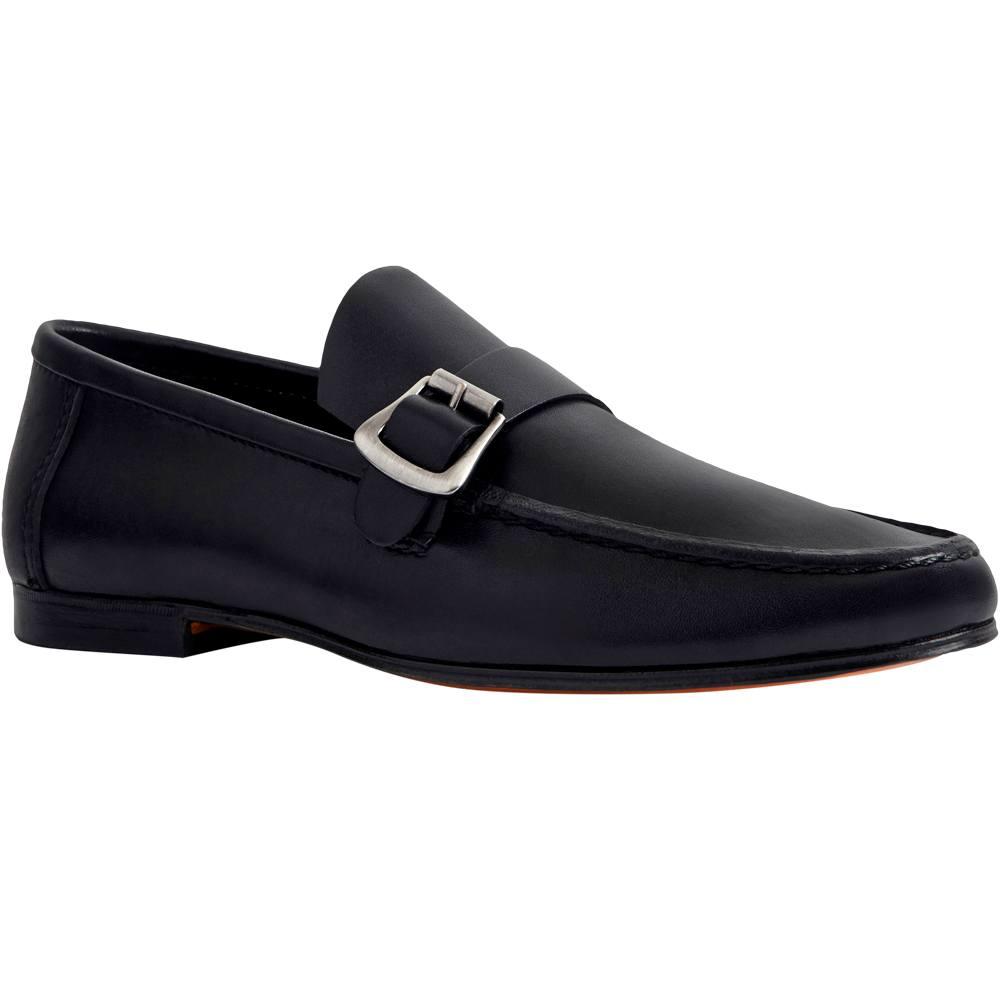 Sapato Masculino Mocassim Casual Bico Alongado cor Preto 666FPRE