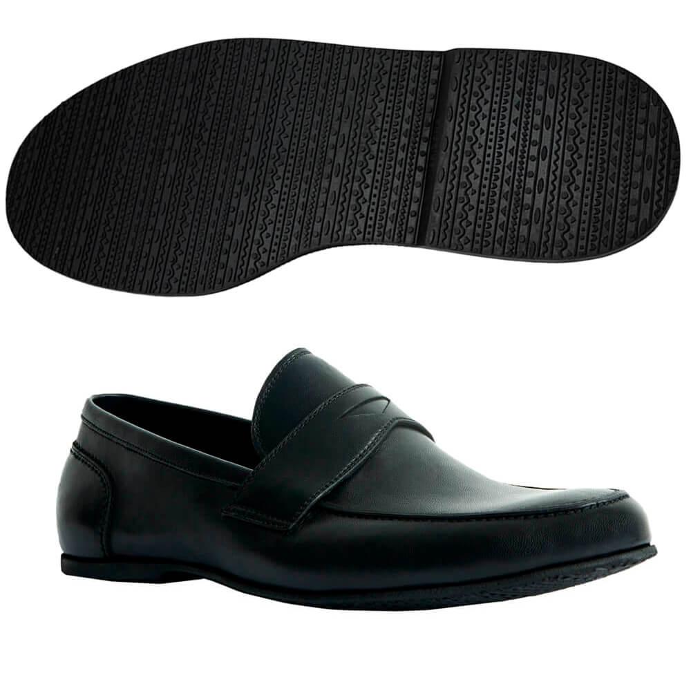 Sapato Masculino Mocassim Casual Flexível cor Preto 050MPRE