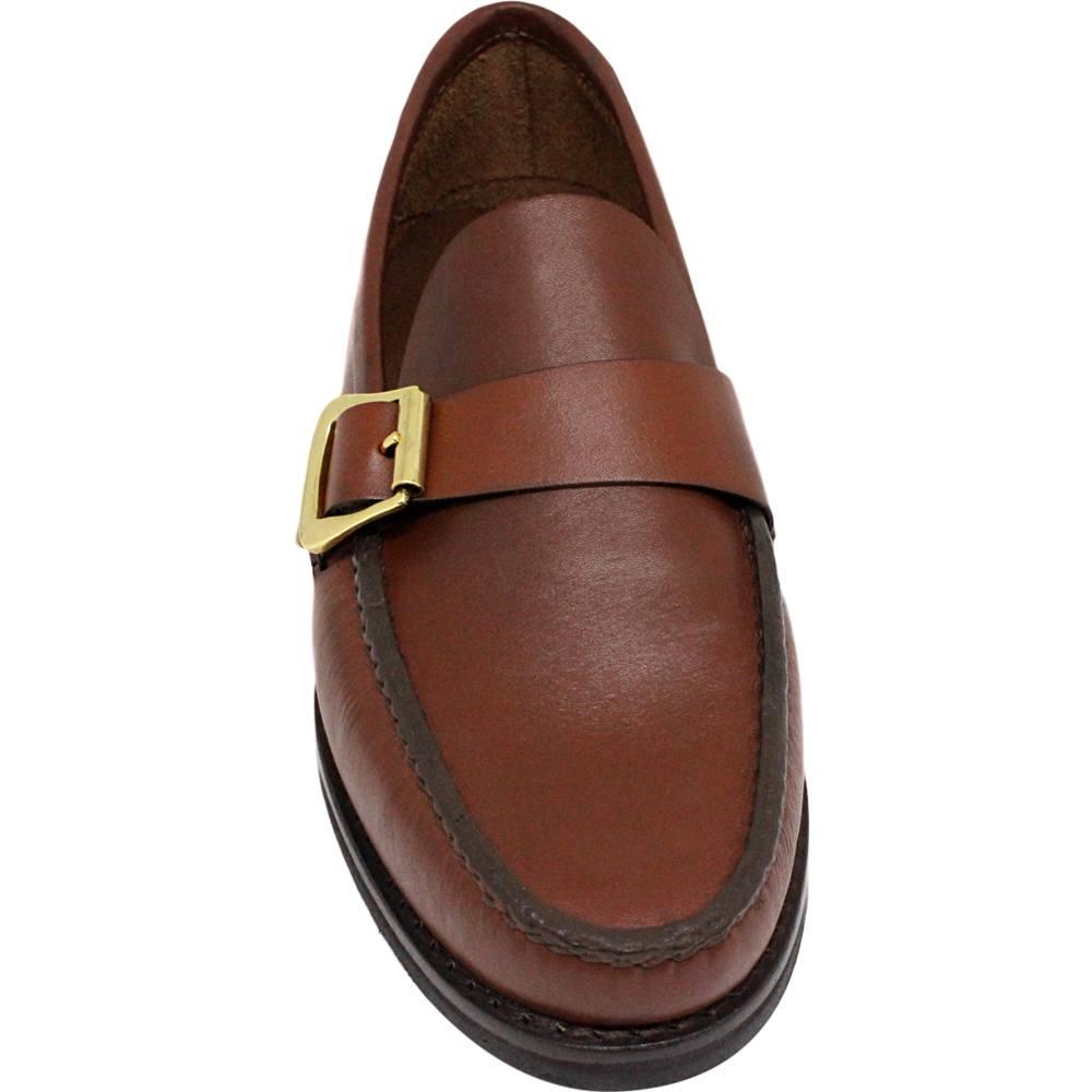 Sapato Masculino Mocassim Argentino Solado em Borracha cor Pinhão 066FBPIN
