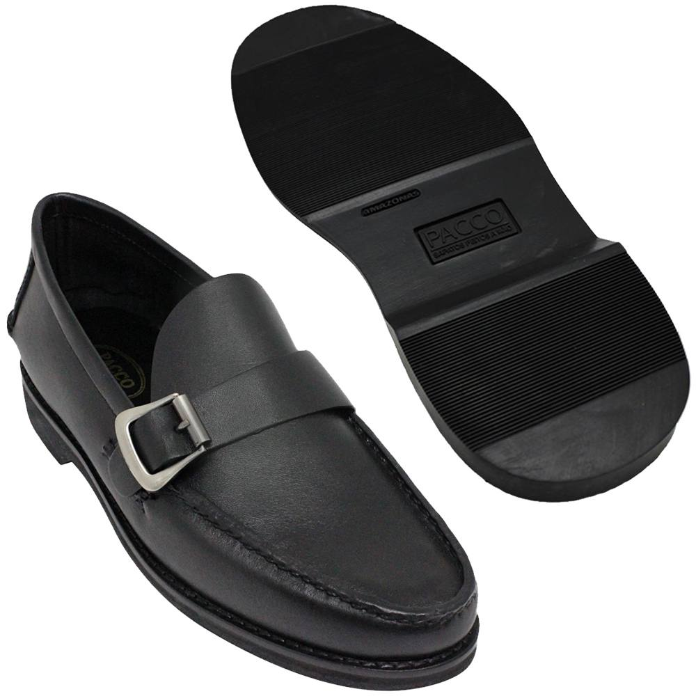 Sapato Masculino Mocassim Argentino Solado em Borracha cor Preto 066FBPRE