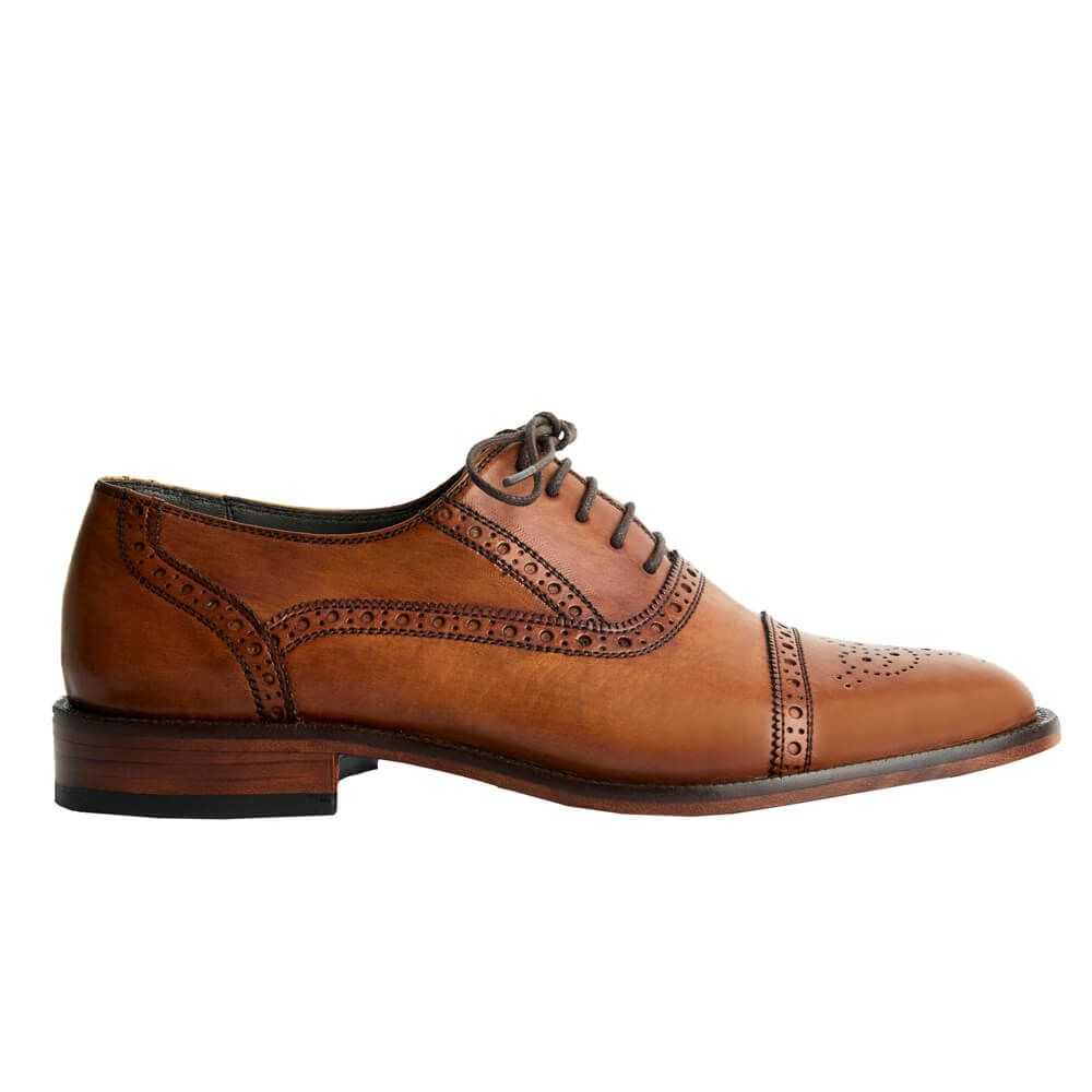 Sapato Masculino Oxford Captoe estilo Inglês cor Avelã 299INGAVE