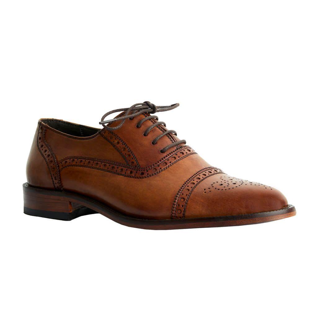 Sapato Masculino Oxford Half Brogue cor Avelã 299INGAVE
