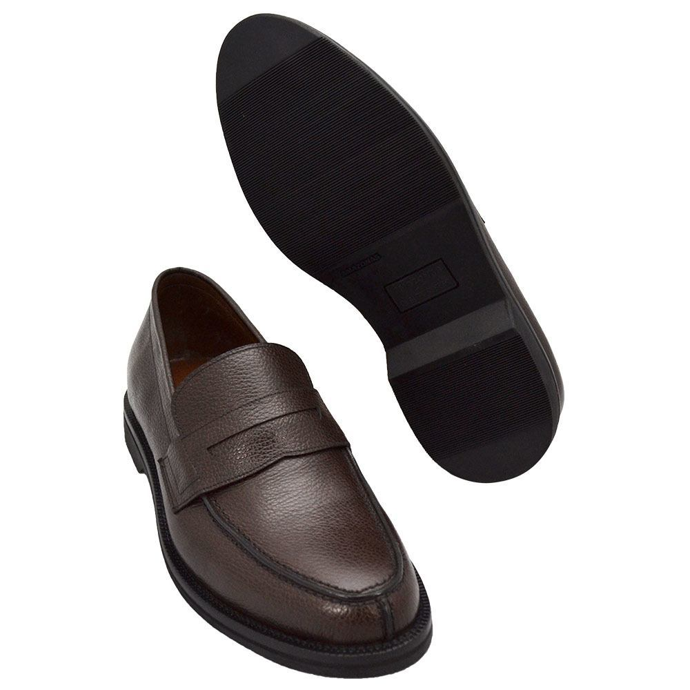 Sapato Masculino Penny Loafer Couro Granulado Marrom Café 900MGRCAF