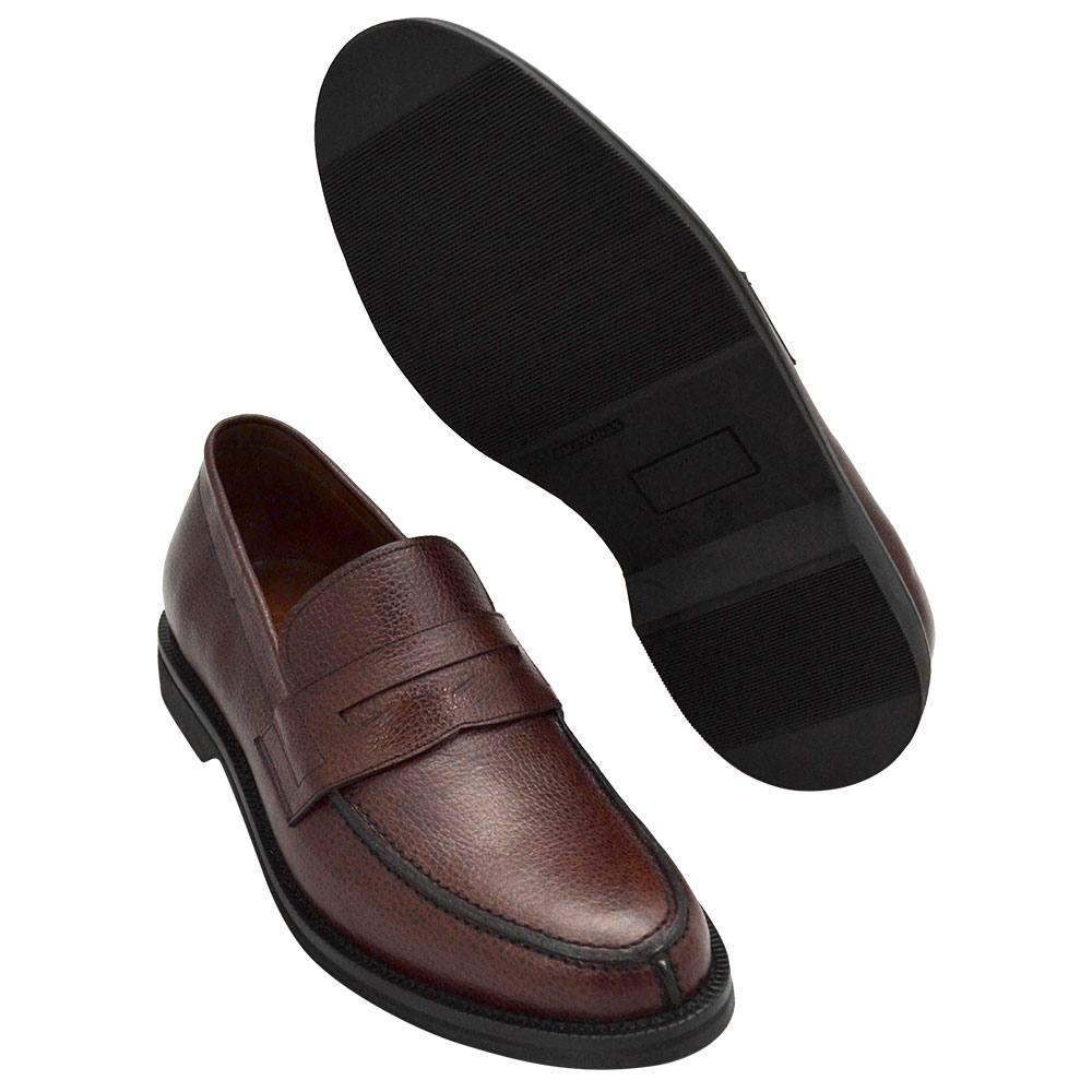 Sapato Masculino Penny Loafer cor Pinhão em Couro Granulado 900MGRPIN